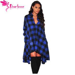 Wholesale Robe Blouse - Plaid Dresses Women Work Wear 2017 Autumn Fashion Blue Black Flared High Low Blouse Dress Vestido Robe Casual LC61339 17410