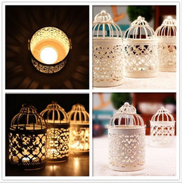 Wholesale Wholesale Metal Lanterns - Wedding decoration Fine Creative Hollow Hanging Bird Cage Candle Holder Candlestick Decor candle holders 60 Pcs YYA173