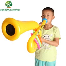Wholesale Gold Stage Props - Wholesale-Musical Instrument Inflatable Trumpet Children Blow Up Toys Speaker Stage Performances Prop Birthday Party Decoration Gifts