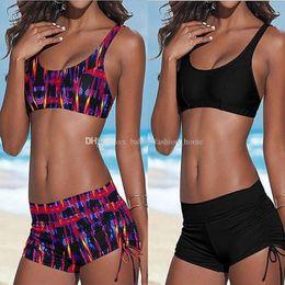 Wholesale Tankini Swimsuits Shorts - 20set Hot New Sexy Women Bandage Swimsuit Bikini Sunset Coconut Palm 3D Digital Print Tank Bra & Shorts Swimwear Bathing Suit Tankini BK32