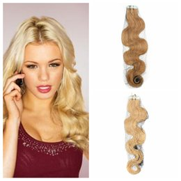 Wholesale Wavy Tape - Grade 10A Virgin Brazilian Body Wave Tape In Extensions Wavy Skin Weft Human Remy Hair Extension 40pcs 100G Remy Hair