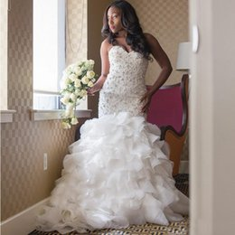 Wholesale Puffy Mermaid Dresses - African Long Puffy Tiered Skirts Mermaid Wedding Dresses Luxury Major Beading Sweetheart Neck White Organza Plus Size Bridal Gown 2017