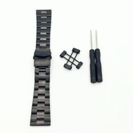 Wholesale Watch Rare - Rare For Suunto Core All Black 24mm Stainless Steel Strap Watch Band W  Lugs Adapters Kit + Buckle +Tools