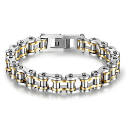 Wholesale Bicycle Link Bracelet - Stainless Steel Men Motor Bicycle Chains Bracelet Motorcycles Wristbands Punk Jewelry Male Biker Brace lace Pulsera 21.5cm*1.3cm 4Color