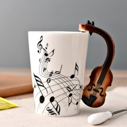 Wholesale Ceramic Bone China Mugs - Creative Music Violin Style Guitar Ceramic Mug Coffee Tea Milk Stave Cups with Handle Coffee Mug Novelty Gifts