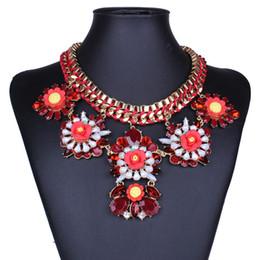 Wholesale Color Acrylic Gem Stones - Fashion big Brand color flower woven cotton rope gem stone pendant necklace for women short exaggerate statement necklaces HD-224
