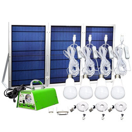 Wholesale Led Home Lighting Kit Solar - 12V 30W Foldable Solar Panel Off Grid Lighting Kit Large Output Portable Camping Home Emergency Lighting System with 4 Bulbs
