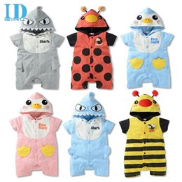 Wholesale White Overalls Baby Boy - IDGIRL Baby Summer Romper Animal Baby Girls Boys Costumes Newborn Jumpsuit Overalls One Piece Clothes With Hooded JY0216