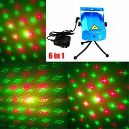 Wholesale Style Mini Rooms - 6 in 1 Laser Stage Light LED stage Lighting Over 20 Styles Mini Laser Lighting Party Light 110V-240V Christmas Laser Light projector