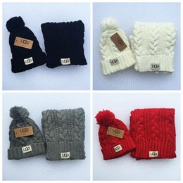Wholesale Winter Hats Scarfs - Knitted Winter Hats Scarf Set Ball Hat Pom Pom Beanies Baby Girls Warm Cap Scarf Two Piece Sets LJJO3139