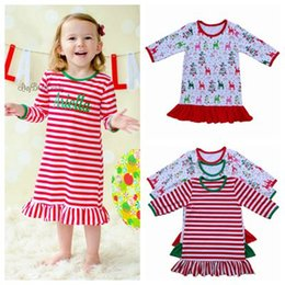 Wholesale Girls Nightgowns - 2017 fall winter pajamas christmas clothes girls pajamas one piece red green pyjamas sleepwear baby dress cotton pijama pjs nightwear gown 3