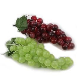 Wholesale decorative artificial grapes - Bunch Lifelike Artificial Grapes Plastic Fake Decorative Fruit Food Home Decor 2 Colors Drop Shipping HG-0985