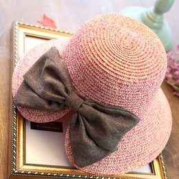 Wholesale Summer Bow Sun Hat - cheapest!!! bow Straw Hats For Women's Female Summer Ladies Wide Brim Beach Hats Sexy Chapeau Large Floppy Sun Caps