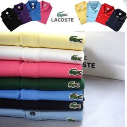 Wholesale Polo Shirt Collars - New 2017 Brand POLO Shirt Men Cotton Fashion High Quality Crocodile Embroidery Polo Summer Short-sleeve Casual Shirts breathable polo shirt
