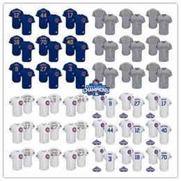 Wholesale Gold 12 - 2017 Men's Chicago Cubs Jersey 17 Kris Bryant 44 Anthony Rizzo 9 Javier Baez 12 Kyle Schwarber World Series Champions Gold Baseball Jerseys
