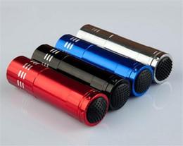 Wholesale Blacklight Free - 9 LED Mini Aluminum UV Ultra Violet 9 LED Flashlight Blacklight Torch Light Lamp 50PCS free ship