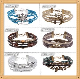 Wholesale Freedom Alloys - 1pcs Freedom Pinna men Leather bracelet masculinas Imitation heart Bracelet Antique LOVE letter charm pulsera anchor bracelets Hero gift
