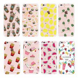 Wholesale Banana Case Iphone - Soft TPU Fashion fruit Lemon Banana Donuts Transparent Cases for Apple iPhone 5 5s 5C SE 6 6 Plus 7 7Plus