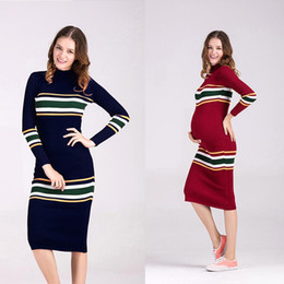 Wholesale Maternity Long Sweater Dress - Maternity Clothes Package Hip Long Cultivate One's Morality Pregnant Women Dress Round Neck Long Sleeve Striped Sweater Dress 0402