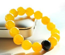 Wholesale Gem Beaded Bracelet - free shipping > Natural 10mm Yellow Topaz Jade & Black Agate Round Gems Beads Bangle Bracelet