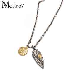 Wholesale Small Leaf Necklace - MCLLROY Retro Small Golden Pixel Triangle Pendant Pendant Personality Feather Leaf Couple Sweater Necklace Men and Women