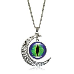 Wholesale Ancient Art - Glass Cabochon Pendant Necklace for Women Vintage Jewelry Evil Eye Art Image Ancient bronze Half Moon Accessories Chain Necklace