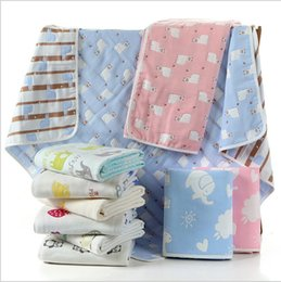Wholesale Towelling Coverlet - Baby shower robes pure cotton safe six layers of gauze lovely cartoon children towel coverlet blanket free shipping retail and wholesale