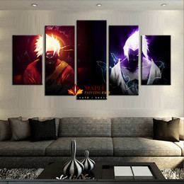 Wholesale Cheap Wall Pictures Paintings - Wholesale 5 Panels canvas printings NARUTO VS SASUKE home decor wall art picture for living room cheap canvas paintings