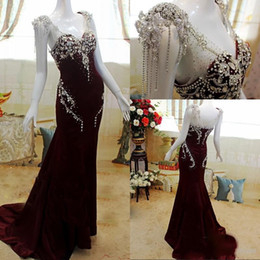 Wholesale Dress Prom Swarovski - 2017 Newest Luxury Maroon A Line Sheer V Neck Sweep Train Swarovski Beading Satin Formal Prom Evening Dresses Long Women Arabic Custom Made