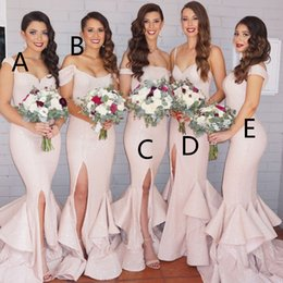 Wholesale Off Shoulder Dress Mermaid Style - 2017 Sequins Mermaid Bridesmaid Dresses Pink Layers Train Side Split Sexy Maid of the Honor Dresses Mixed Styles BA1593