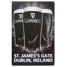 Wholesale Plate Plaque - Guinness ST.JAMES'S GATE DUBLIN, IRELAND Vintage Home Decor Tin Sign Metal Plaque Cool Metal Plate Metal Poster