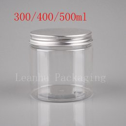 Wholesale Cookie Glass - 300ml 400ml 500ml transparent food jar with sealed screw lid, clear cookie jars, big size food tea container Plastic pot bottle