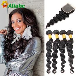 Wholesale Buy Cheap Human Hair - Cheap Brazilian Loose Wave 4 bundles With Lace Closure Buy Queen 7A Brazilian human hair extension unprocessed virgin hair weave
