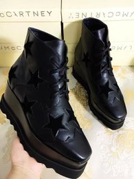 Wholesale High Top Platform Shoe - Stella Mccartney Platform Boots Shoes Elyse Stars Shoes Black Genuine Leather with Black Stars and Blakc Sole High Top