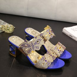 Wholesale Middle Heel Fashion Shoes - Women Summer High Heel Scuffs Slippers Rhinestone Bling Butterfly Sandals Ladies Open Toes Middle Heels Mules shoes US4.5-9