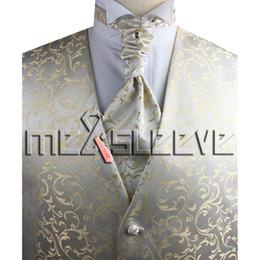 Wholesale Handkerchief Party Dresses - Wholesale- party dress jacquard fabric bride wear 4pcs (waistcoat+ascot tie+cufflinks+handkerchief)