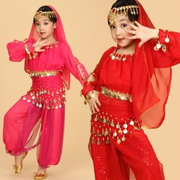 Wholesale Indian Dance Costumes For Kids - 2017 Kids Belly Dance Costume Child Belly Dancing Indian Cloth Performance Stage Wear For Girl's Children 6pcs set