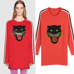 Wholesale Coats Border - 2017 New Autumn Winter Women Knitwear Leopard Head Embroidery Long Sleeves Striped Ribbon Border kinted sweater Coat Female Casual Pullovers