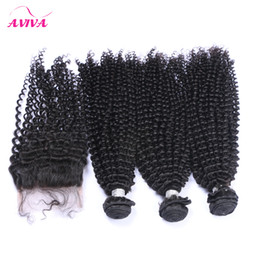 Wholesale Top Lace Closure Deep Curly - 4Pcs Lot Peruvian Kinky Curly Virgin Hair Weaves With Closure Unprocessed Peruvian Deep Curly Human Hair Bundles Add Top Lace Closures 4x4