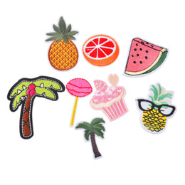 Wholesale Backpack Stickers - 8PCs set Patches For Clothes Iron On Applique Embroidered Patches DIY Labels Backpack Sticker Sew Patches Fruit Cartoon