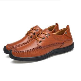 Wholesale Grey Dress Work Office - Men Cow Leather Shoes Casual New 2017 Genuine Leather Shoes Men Oxford Fashion Lace Up Dress Shoes Outdoor Work Shoe