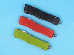 tanto cuchillo personalizada Rebajas Cuchillos personalizados - 7 pulgadas Red Small 616 Auto Tactical Knife 440C Single Edge Tanto Half Serration Blade con bolsa de nylon