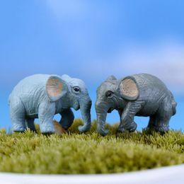 Wholesale Elephant Figurines - 2PCS artificial elephant fairy garden miniatures gnomes moss terrariums resin crafts figurines for home garden decoration