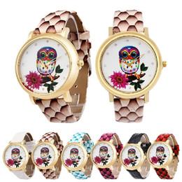 Wholesale Green Glass Owl - DHL free Luxury Wristwatches Owl flower printed Rhinestones bracelet Dress watches Women Fashion PU Leather Strap Quartz Wrist Watch relojes