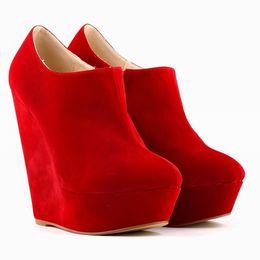 Wholesale Elegent Shoes - Wholesale-WOMEN ELEGENT PLATFORM HIGH HEELS VELVET SHOES ANKLE BOOTS WEDGES US 4-11 391-5VE