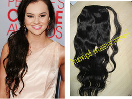 Wholesale Hair Clips For Ponytail Extensions - Loose wavy clip in Ponytails Brazilian human real hair 140g wavy curly clip ponytail natural hair extensions jet black for black women