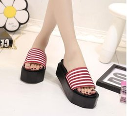 Wholesale Black Women Wearing High Heels - Korean version of the beach cool slippers female summer 2017 fashion wild thick under the wear of women with slope with high-heeled slide
