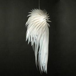 Wholesale Feather Pendant Lamp - Novelty Light White Angel Wing Feather Pendant Light Fixture Plastic Suspension Chandelier Light Bedroom Living Room Pendant Lamp Lighting
