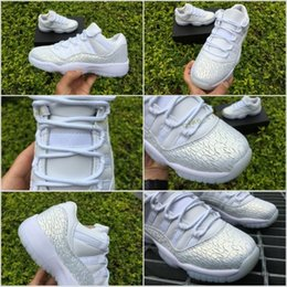 Wholesale Christmas Cushions - 2017 Retro 11 Low GS PRM HC Frost White Women Men Basketball Shoes With Carbon Fiber Airs 11s XI Sports Sneakers Size 36-44