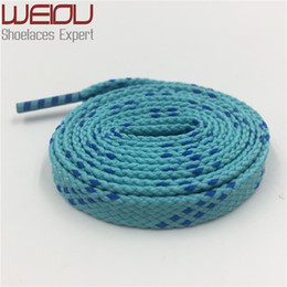 red flat shoelaces Coupons - Wellace 1cm Width Double Cross Grain Kids Adult Blue Turquoise Athletic Sport Sneakers Flat Shoelaces Bootlaces Shoe laces Strings 120cm 47""